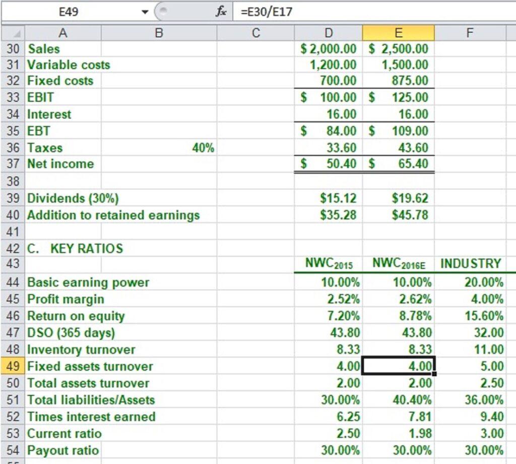 Excel Worksheet for Business Finance ePrep Course